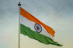 Indian flag waving in the wind. City center of New Delhi. India royalty free stock image