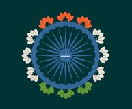 Indian flag wheel. Indian flag wheel with Lotus Flower Painted by Indian Flags colors stock image