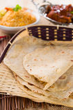 Indian flat-bread called chapati in basket Stock Image