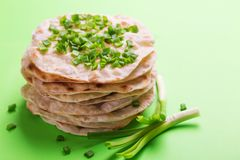 Indian flatbread chapati, green onion. Color surge trend. Traditional Kerala Indian cuisine. Homemade flatbread chapati with green onion on green background stock image