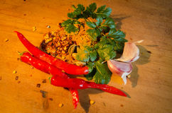 Indian Flavours. Indian curry ingradients ,herbs,spices and chilli Stock Photography
