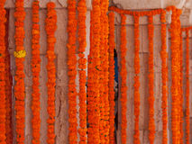 Indian Floral Decorations. Marigold flower decorations at a Hindu religious celebration in Rajasthan Stock Photography