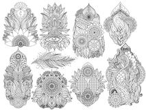 Indian floral mehendi set. Black and white Indian floral mehndi isolated decorative elements collection, oriental asian boho pattern with mandalas, can be used vector illustration