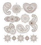Indian Floral Ornaments, Mandala, Henna. Vector. Indian Floral Ornaments, Mandala, Henna. Linear Vector Illustration Set Stock Photo