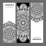 Indian floral paisley medallion banners. Ethnic Mandala ornament. Can be used for textile, greeting card, coloring book Stock Images