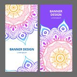 Indian floral paisley medallion banners. Ethnic Mandala ornament. Can be used for textile, greeting card, coloring book royalty free stock image