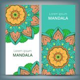 Indian floral paisley medallion banners. Ethnic Mandala ornament. Can be used for textile, greeting card, coloring book. Phone case print. Vector illustration Stock Image