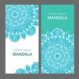 Indian floral paisley medallion banners. Ethnic Mandala ornament. Can be used for textile, greeting card, coloring book. Phone case print. Vector illustration Royalty Free Stock Photos