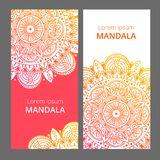 Indian floral paisley medallion banners. Ethnic Mandala ornament. Can be used for textile, greeting card, coloring book Royalty Free Stock Photography