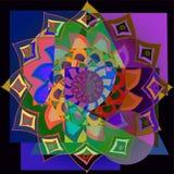 INDIAN FLOWER ASYMMETRIC MANDALA, GEOMETRIC BACKGROUND IN BLUE, PURPLE, BRIGHT COLORS vector illustration