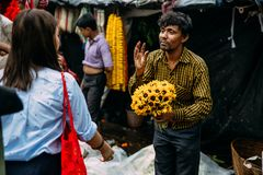 Indian flower seller bargaining price of sunflowers with tourist at Mullick Ghat flower market in the morning in Kolkata, India