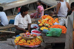 Indian Flower Seller Stock Images