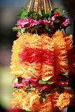 Indian flowers and garlands at the flower market culture festival Royalty Free Stock Image