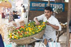 Indian flowers seller. Indian flower seller, in Bhubaneswar, near the Sun temple. Local economy model is a way for villages to become self-reliant.  By value Royalty Free Stock Image