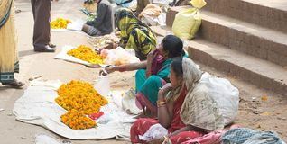 Indian flowers seller Stock Photo