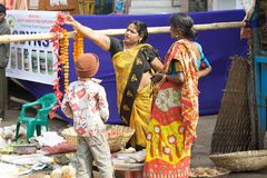 Indian flowers seller Royalty Free Stock Photography