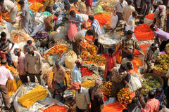 Indian flowers street market. In Calcutta Stock Images