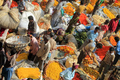 Indian flowers street market. In Calcutta Royalty Free Stock Photo