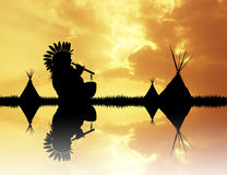 Indian with flute at sunset. Illustration of Indian with flute at sunset Stock Image