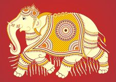 Indian Folk Painting. Kalamkari Painting of an elephant Royalty Free Stock Photography