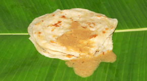 Indian food. Cool detail of india food on banana leaf Stock Image