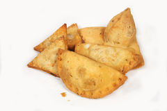 Indian Food. Indian delicious samosa's on White royalty free stock images