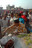 Indian food. A vendor is selling fruits on a roadside stall in India Stock Photo