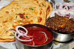 Indian food. Palak paneer,dal makhni and parantha  at a Dhaba/Hotel Royalty Free Stock Image