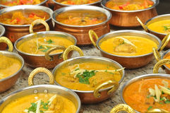 Indian food. A lot of bowls with indian food Royalty Free Stock Images