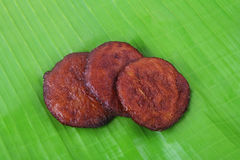 Indian Food Adhirasam. On Banana Leaf Royalty Free Stock Image