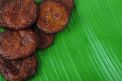 Indian Food Adhirasam. On Banana Leaf Stock Image