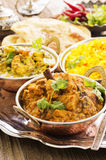 Indian Food. As closeup on a silver tray Royalty Free Stock Images