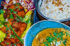 Indian food background. Colorful background of traditional Indian food dishes Royalty Free Stock Photos