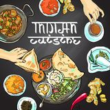 Indian food. Beautiful hand drawn illustration indian food top view Royalty Free Stock Photography