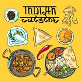 Indian food. Beautiful hand drawn illustration indian food top view Stock Photo