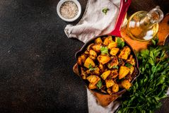Indian food, Bombay Potatoes. On dark rusty background copy space top view royalty free stock images