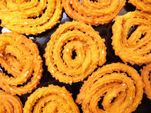 Indian Food-Chakli. It is an indian snack made of rice floor and butter Stock Images