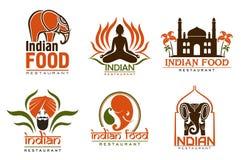 Free Indian Food Chef, Taj Mahal, Lotus And Elephant Stock Photos - 155771123