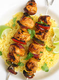 Indian Food, Chicken Tikka Kebabs. Chicken tikka kebabs with red onions and peppers Royalty Free Stock Photography