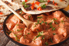 Indian food chicken tikka masala and naan close-up. horizontal Royalty Free Stock Photo