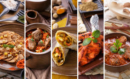 Indian food collage. A portrait of various indian food buffet, collage Stock Image