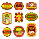 Indian Food Colorful Emblems Stock Photos