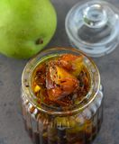 Indian condiments - mango pickle stock images