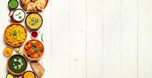 Indian food and indian cuisine dishes, copy space stock images