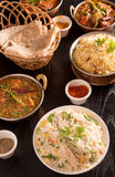 Indian food ;curries, chapathi, fried rice Royalty Free Stock Photography