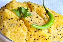 Indian Food Dhokla. Indian snack Dhokla with chilly Royalty Free Stock Images