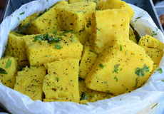 Indian Food Dhokla. Indian snack Dhokla with chilly Royalty Free Stock Photos