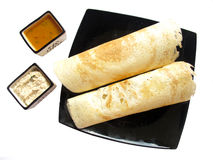 Indian Food-Dosa and sambhar. Dosa is special food made of rice and lentils in south india Stock Photos