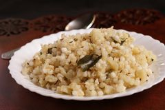 Indian Food for Fasting Days. Sabudana Khichdi, An Indian food dish to be consumed during the religious fasting days. Made of Sago, Potato and Indian spices Royalty Free Stock Images