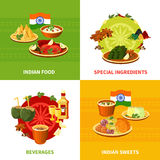 Indian Food 4 Flat Icons Square. Indian national food concept 4 flat icons square banner with traditional spicy ingredients abstract vector illustration vector illustration